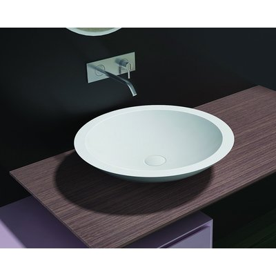 Cross Tone Solid surface opbouwwastafel B51.5xD51.5xH10.5cm rond wit mat