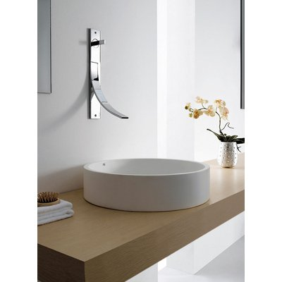 Cross Tone Solid surface opbouwwastafel B50xD10xH10cm rond wit mat