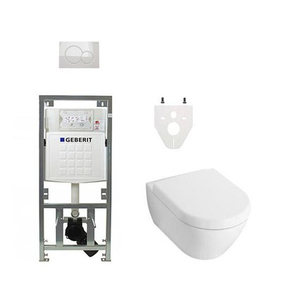 Villeroy en Boch Subway 2.0 DirectFlush toiletset met Geberit reservoir en bedieningsplaat softclose wit