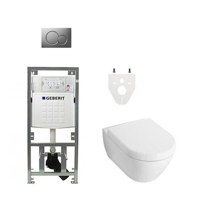 Villeroy en Boch Subway 2.0 DirectFlush toiletset met Geberit reservoir en bedieningsplaat softclose matchroom
