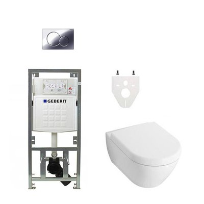 Villeroy en Boch Subway 2.0 DirectFlush toiletset met Geberit reservoir en bedieningsplaat softclose chroom