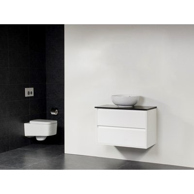 Saniclass New Future Corestone13 meuble sans miroir 80cm avec vasque à poser Blanc brillant