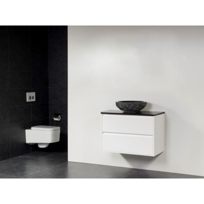 Saniclass New Future Corestone 13 meuble sans miroir 80cm vasque à poser en pierre naturelle Blanc brillant