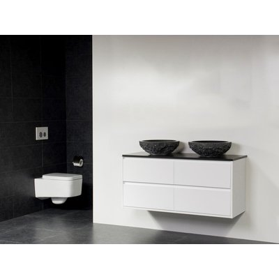 Saniclass New Future Corestone13 meuble sans miroir 120cm vasque à poser en pierre naturelle Blanc brillant