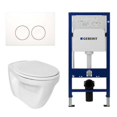 Ideal standard Toiletset vlakspoel met basic zitting UP100 reservoir en Delta 21 Wit Knop
