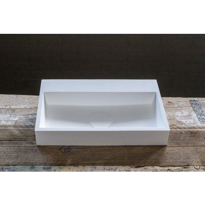 Crosstone Solid Surface fontein 38x24x7cm rechthoek wit