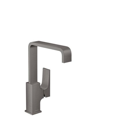 Hansgrohe Metropol 1-gats wastafelkraan 230 m. push open waste m. 120° draaibare uitloop 16.5cm brushed black chroom 32511340