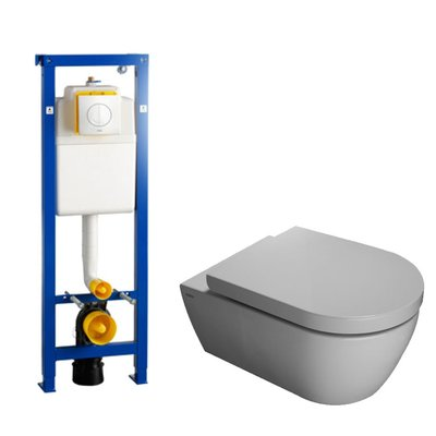 Throne Bathrooms Salina toiletset met Wisa xs element, softclose toiletzitting en witte Argos bedieningsplaat