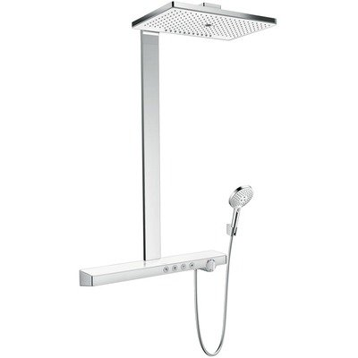Hansgrohe Rainmaker Select 460 3jet showerpipe: met Showertablet Select 700 opbouw douchekraan thermostatisch met met Raind. Select S 120 3jet handdouche en hoofddouche 3jet wit/chroom
