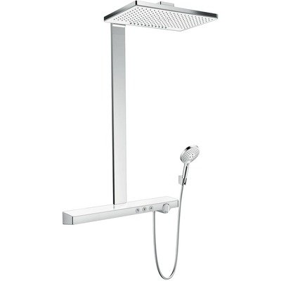 Hansgrohe Rainmaker Select 460 2jet showerpipe: met Showertablet Select 700 opbouw douchekraan thermostatisch met met Raind. Select S 120 3jet handdouche en hoofddouche 2jet wit/chroom