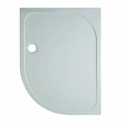 Simpsons Shower Tray douchebak 90x120x4.5cm offset links 90mm afvoer kwartrond polybeton wit OUTLET