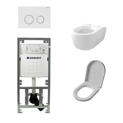 Throne Bahtrooms Salina Set encastrable avec WC suspendu abattant softclose et plaque de commande Sigma20 blanc