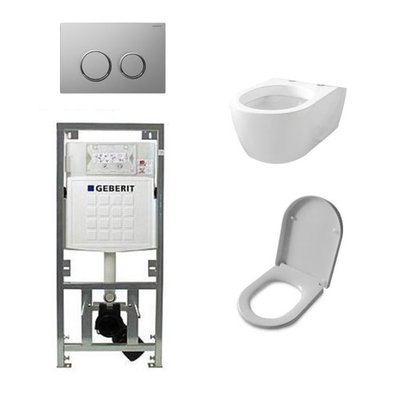 Throne Bathrooms Salina inbouwset met wandcloset en softclose zitting en afdekplaat sigma20 chroom