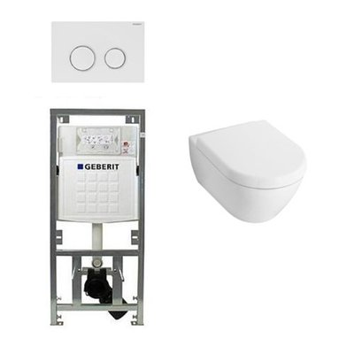 Villeroy en boch Subway 2.0 Inbouwset met wandclosetpot wit soft close zitting afdekplaat sigma20 wit