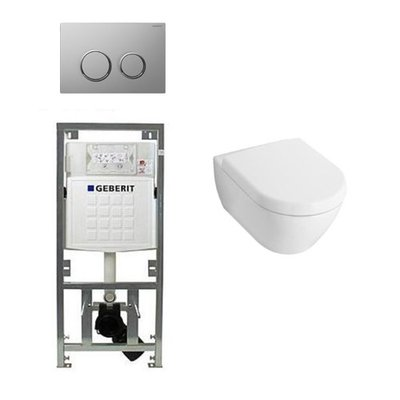 Villeroy en boch Subway 2.0 Inbouwset met wandclosetpot wit soft close zitting afdekplaat sigma20 chroom