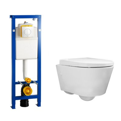Throne Bathrooms Salina toiletset Compact met Wisa xs element, softclose toiletzitting en witte Argos bedieningsplaat