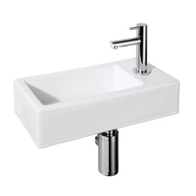 Best Design One Set lave mains 36x18cm robinet droite Blanc