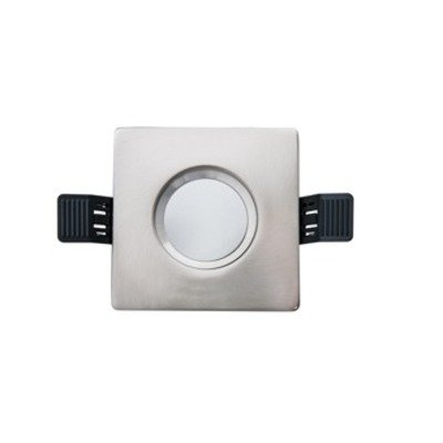 Interlight LED spot set IP65 dimbaar vierkant 90mm met driver 36° richtbaar geborsteld chroom