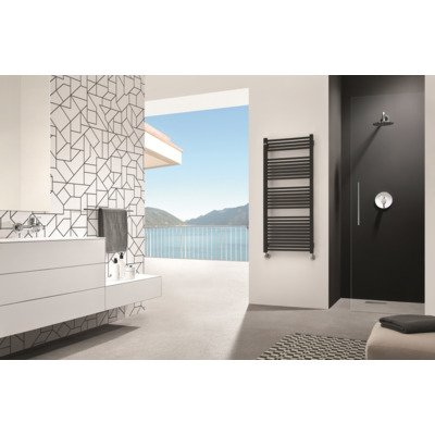 Throne Bathrooms Recta designradiator 53.5x139cm met aansluiting op hoekpunten 709 Watt Quartz