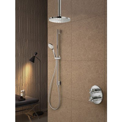 Hotbath Get Together complete thermostatische douche inbouwset Chap met 2 weg stop omstel chroom 3 standen handdouche met plafondbuis 15cm diameter douchekop 30cm inclusief glijstang