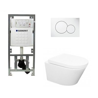 Wiesbaden Vesta toiletset Rimless 52cm inclusief UP320 toiletreservoir en softclose toiletzitting met bedieningsplaat wit