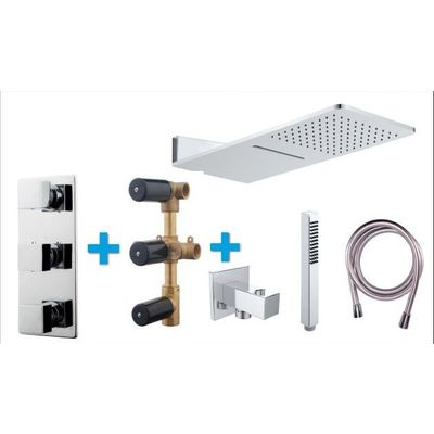 Wiesbaden One Pack Set de douche thermostatique encastrable 24x55cm type 116 chrome