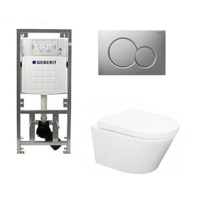 Wiesbaden Vesta toiletset Rimless 52cm inclusief UP320 toiletreservoir en softclose toiletzitting met bedieningsplaat mat verchroomd