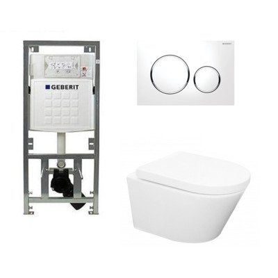 Wiesbaden Vesta toiletset Rimless 52cm inclusief UP320 toiletreservoir en softclose toiletzitting met bedieningsplaat sigma20 wit