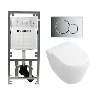 Villeroy en Boch Subway 2.0 compact DirectFlush toiletset met Geberit reservoir en bedieningsplaat glans chroom softclose met quickrelease wit
