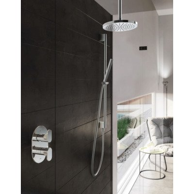 Hotbath Get Together complete thermostatische douche inbouwset Friendo met 2 weg stop omstel chroom staafmodel handdouche met plafondbuis 30cm diameter douchekop 20cm inclusief glijstang