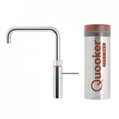 Quooker Fusion Square keukenkraan koud, warm en kokend water met PRO3 reservoir chroom