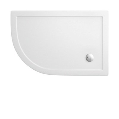 Simpsons Showertray offset Quadrant receveur de douche bas 76x90x3.5cm quart de rond droite acrylique blanc DESTOCKAGE