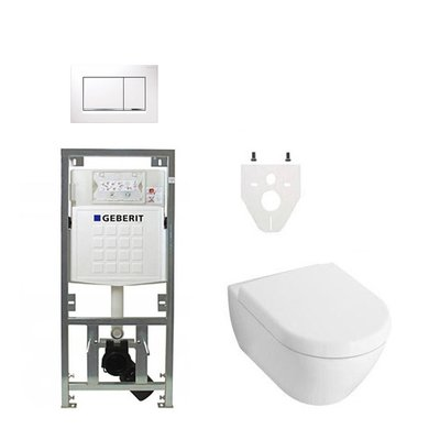 Villeroy en Boch Subway 2.0 DirectFlush toiletset softclose met Geberit reservoir en bedieningsplaat wit chroom sigma30 wit