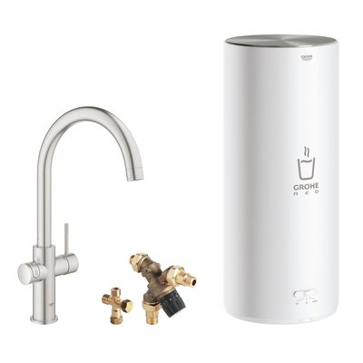 Grohe Red New keukenkraan 3-in-1 met C-uitloop en L-size boiler RVS