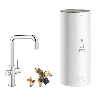 Grohe Red New keukenkraan 3-in-1 met U-uitloop met L-size boiler chroom