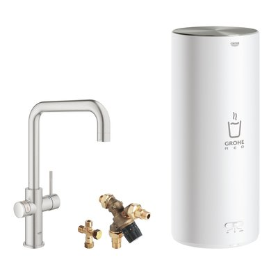 Grohe Red New keukenkraan 3-in-1 met U-uitloop en L-size boiler RVS