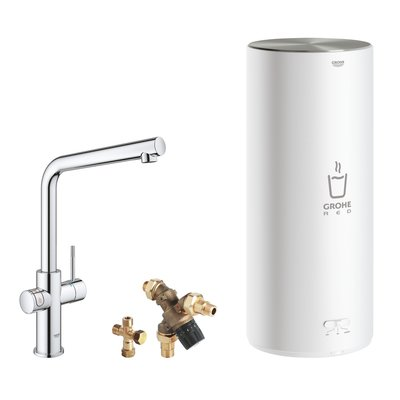 Grohe Red New keukenkraan 3-in-1 met L-uitloop en L-size boiler chroom