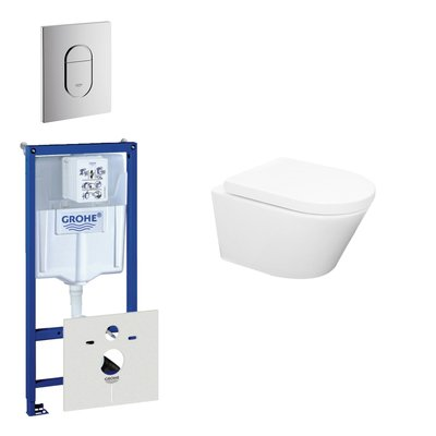 Wiesbaden Vesta Rimfree toiletset bestaande uit inbouwreservoir, toiletpot met softclose toiletzitting en bedieningsplaat verticaal mat chroom