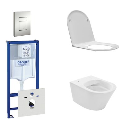 Wiesbaden Vesta Rimfree toiletset bestaande uit inbouwreservoir, toiletpot met softclose en quickrelease toiletzitting en bedieningsplaat mat chroom