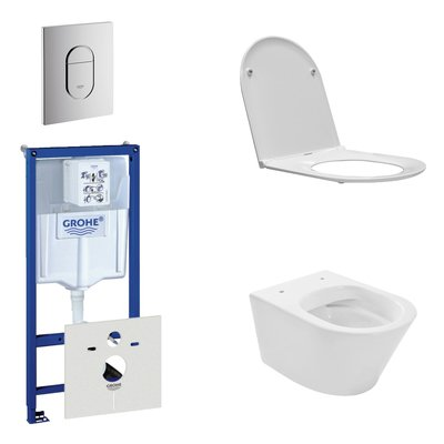 Wiesbaden Vesta Rimfree toiletset bestaande uit inbouwreservoir, toiletpot met softclose en quickrelease toiletzitting en bedieningsplaat verticaal chroom