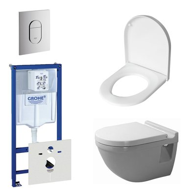 Duravit Starck 3 toiletset bestaande uit inbouwreservoir, diepspoel wandcloset met softclose toiletzitting en bedieningsplaat verticaal chroom