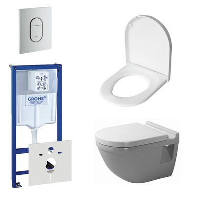 Duravit Starck 3 toiletset bestaande uit inbouwreservoir, diepspoel wandcloset met softclose toiletzitting en bedieningsplaat verticaal mat chroom