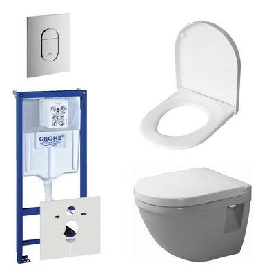 Duravit Starck 3 Compact toiletset bestaande uit inbouwreservoir, diepspoel compact wandcloset met softclose toiletzitting en bedieningsplaat verticaal chroom
