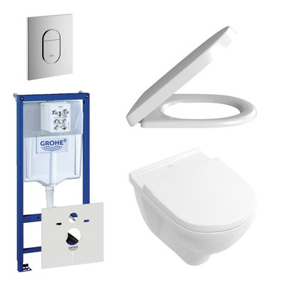 Villeroy en Boch O.Novo DirectFlush toiletset bestaande uit inbouwreservoir, directflush wandcloset met softclose en quick release toiletzitting en bedieningsplaat verticaal chroom