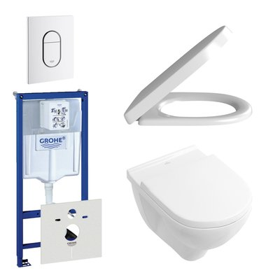 Villeroy en Boch O.Novo DirectFlush toiletset bestaande uit inbouwreservoir, directflush wandcloset met softclose en quick release toiletzitting en bedieningsplaat verticaal wit
