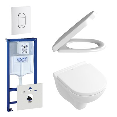 Villeroy en Boch O.Novo DirectFlush compact toiletset bestaande uit inbouwreservoir, directflush wandcloset met softclose en quick release toiletzitting en bedieningsplaat verticaal wit