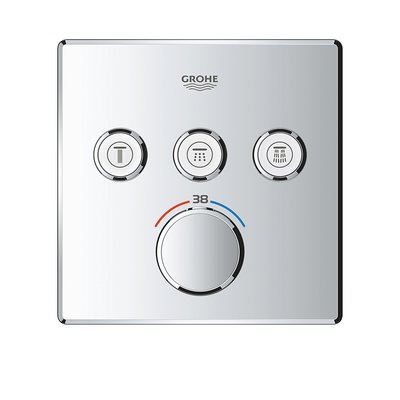 GROHE GROHTHERM SMARTCONTROL afdekset douchethermostaat met omstel 3x vierkant CHROOM