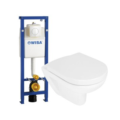 Wisa toiletset met rimless toiletpot zitting soft close en quick release bedieningsplaat wit
