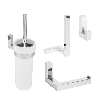 Aliseo Eighteen toilet accessoireset 4 delig chroom