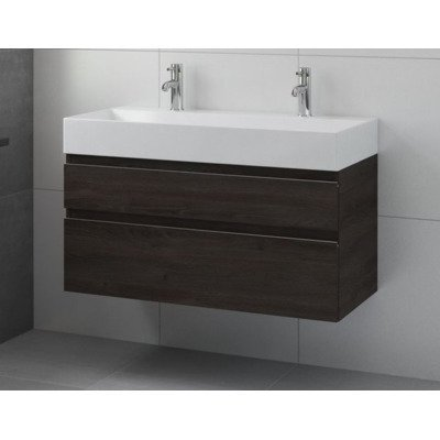 bruynzeel roma meuble sous lavabo 100x46cm avec 2 tiroirs gladstone oak 227728. Black Bedroom Furniture Sets. Home Design Ideas